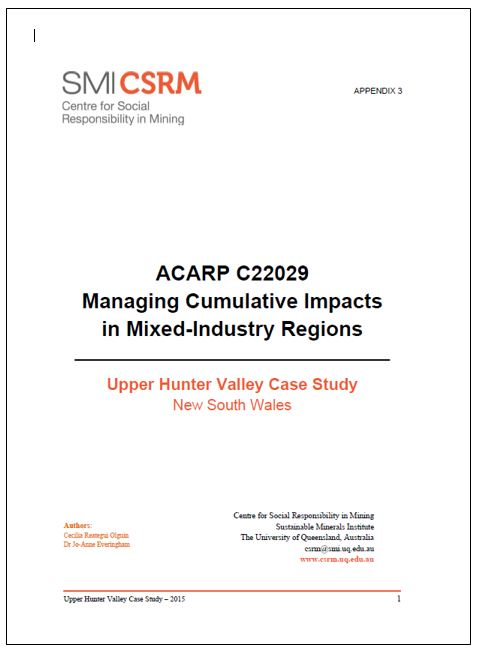 ACARP C22029 Managing cumulative impacts in mixed-industry regions: Upper Hunter Valley case study NSW