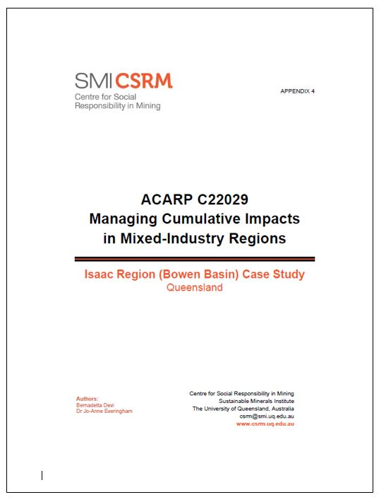 ACARP C22029 Managing cumulative impacts in mixed-industry regions: Isaac Region (Bowen Basin) case study, Queensland