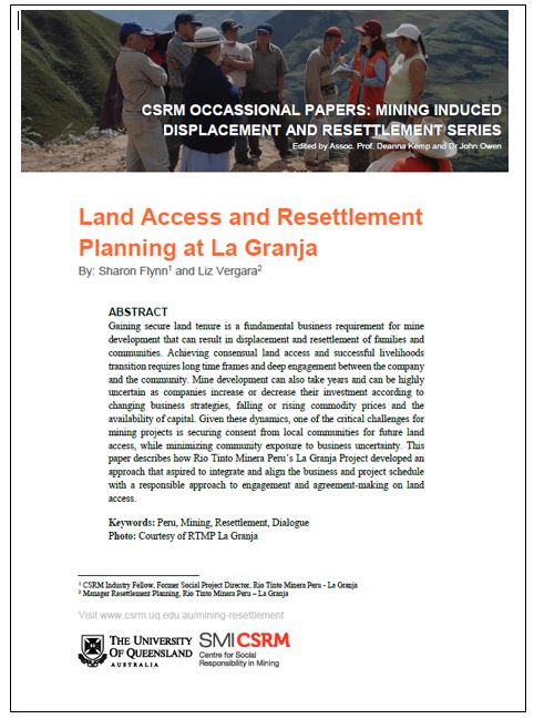 Land access and resettlement planning at La Granja