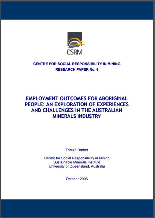 Employment outcomes for Aboriginal people: an exploration of experiences and challenges in the Australian minerals industry
