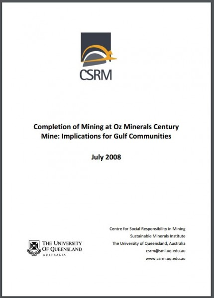 Completion of Mining at Oz Minerals Century Mine: Implications for Gulf Communities