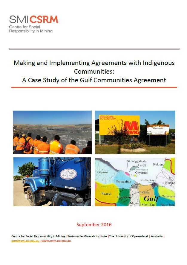 Making and implementing agreements with Indigenous communities: a case study of the Gulf communities agreement