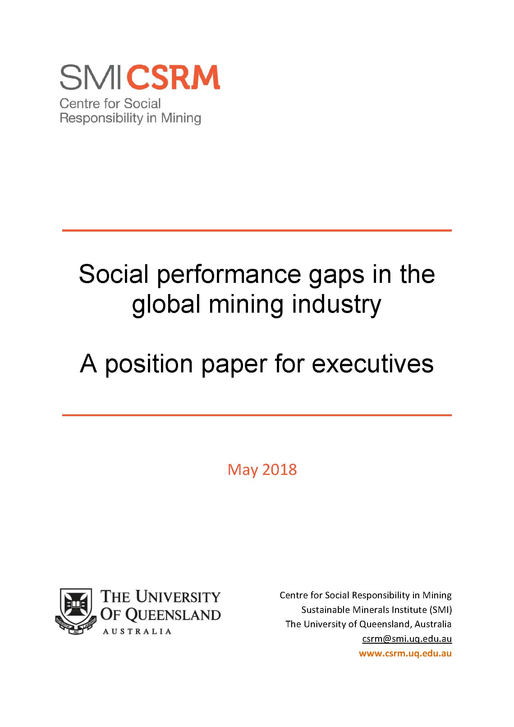 Social performance gaps in the global mining industry: a position paper for executives