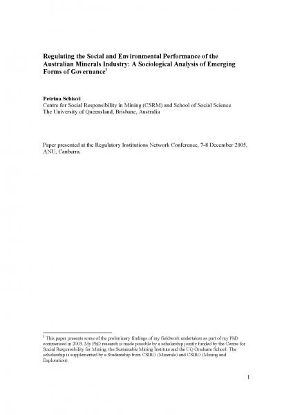 Regulating the Social and Environmental Performance of the Australian Minerals Industry: A Sociological Analysis of Emerging Forms of Governance