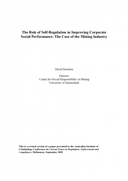 The Role of Self-Regulation in Improving Corporate Social Performance: The Case of the Mining Industry
