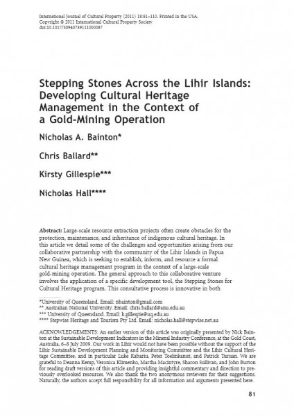 Stepping Stones Across the Lihir Islands: Developing Cultural Heritage Management in the Context of a Gold-Mining Operation