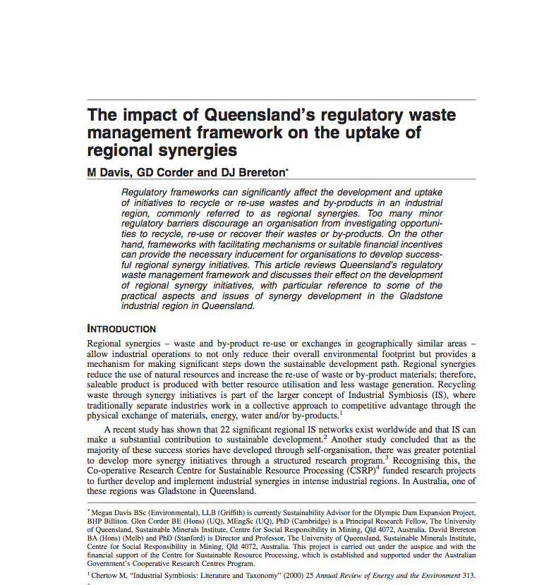 The impact of Queensland's regulatory waste management framework on the uptake of regional synergies