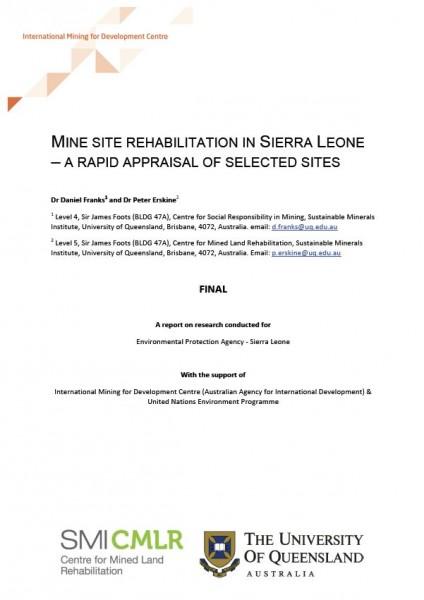 Mine site rehabilitation in Sierra Leone - Centre for Social