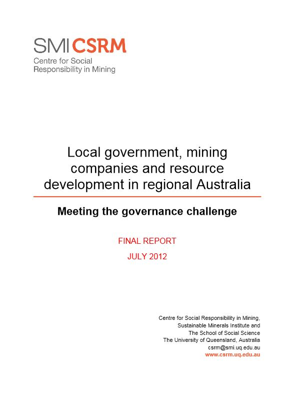 Local government, mining companies and resource development in regional Australia
