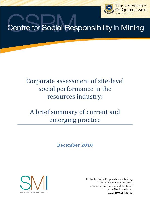 Corporate assessment of site-level social performance in the resources industry