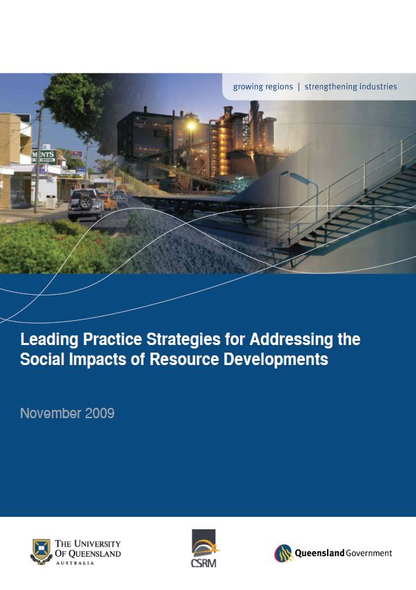 Leading practice strategies for addressing the social impacts of resource developments