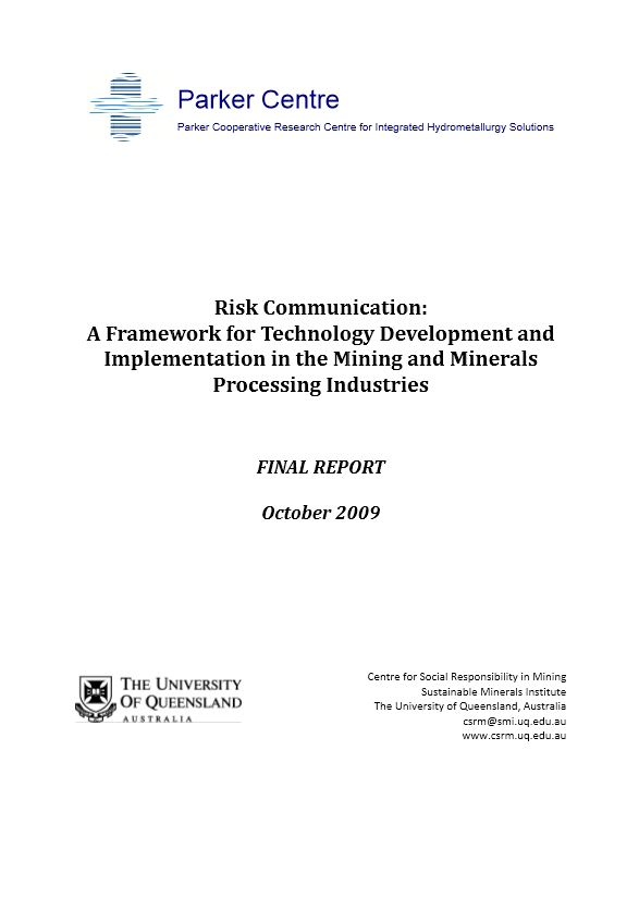Risk communication: a framework for technology development and implementation in the mining and minerals processing industries