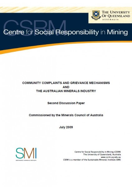 Community Complaints and Grievance Mechanisms and The Australian Minerals Industry