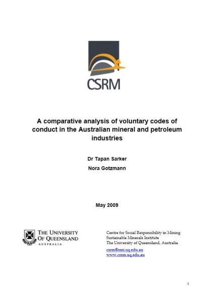 A comparative analysis of voluntary codes of conduct in the Australian mineral and petroleum industries