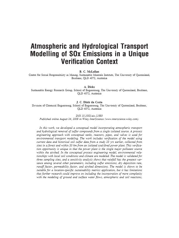 Atmospheric and hydrological transport modelling of SOx emissions in a unique verification context