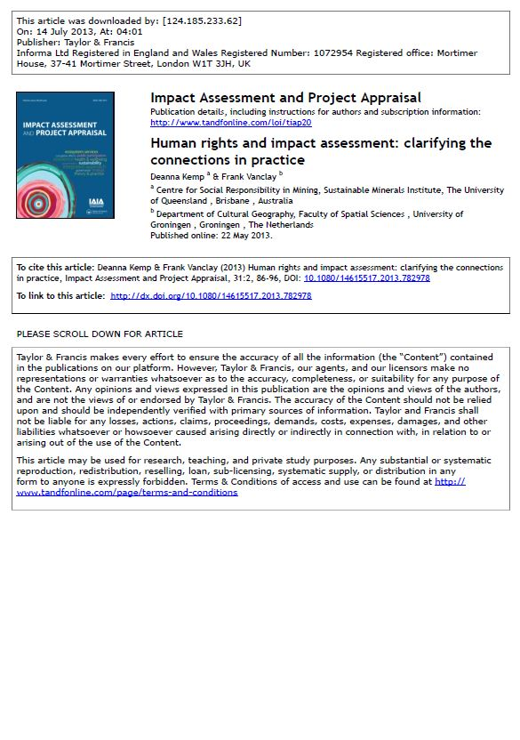 Human rights and impact assessment: clarifying the connections in practice