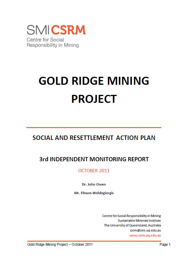 Gold Ridge mining project - social and resettlement action plan. 3rd independent monitoring report