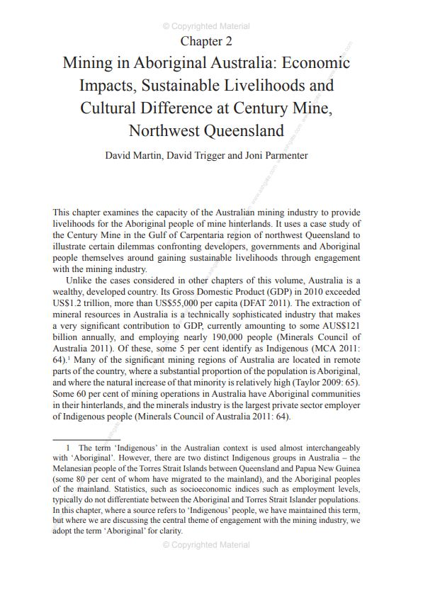 Mining in Aboriginal Australia: economic impacts, sustainable livelihoods and cultural difference at Century Mine, Northwest Queensland