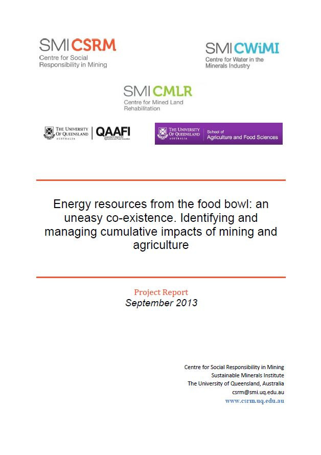 Energy resources from the food bowl: an uneasy co-existence. Identifying and managing cumulative impacts of mining and agriculture