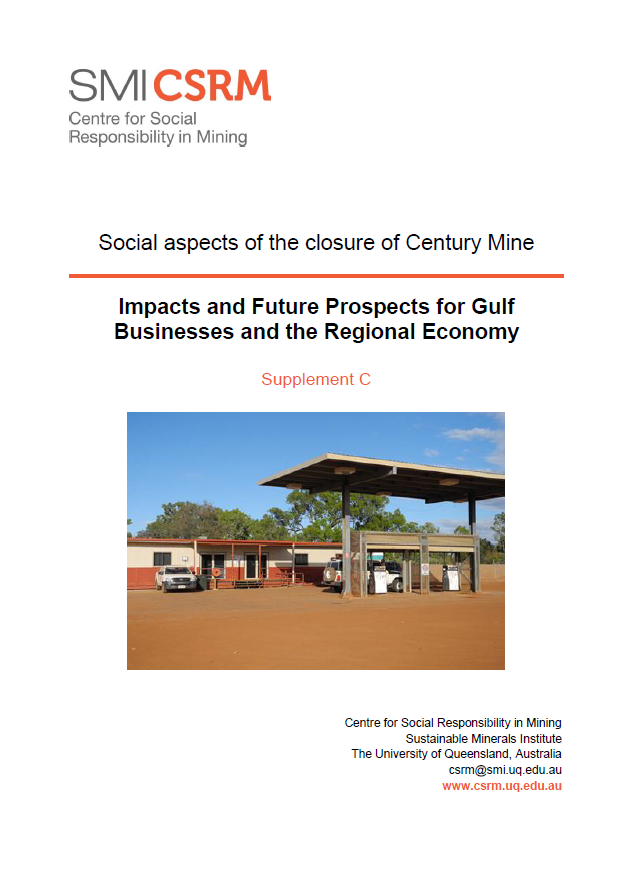 Social aspects of the closure of Century Mine: impact and future prospects for Gulf business and the regional economy