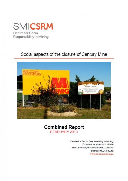 Social aspects of the closure of Century Mine: Combined Report