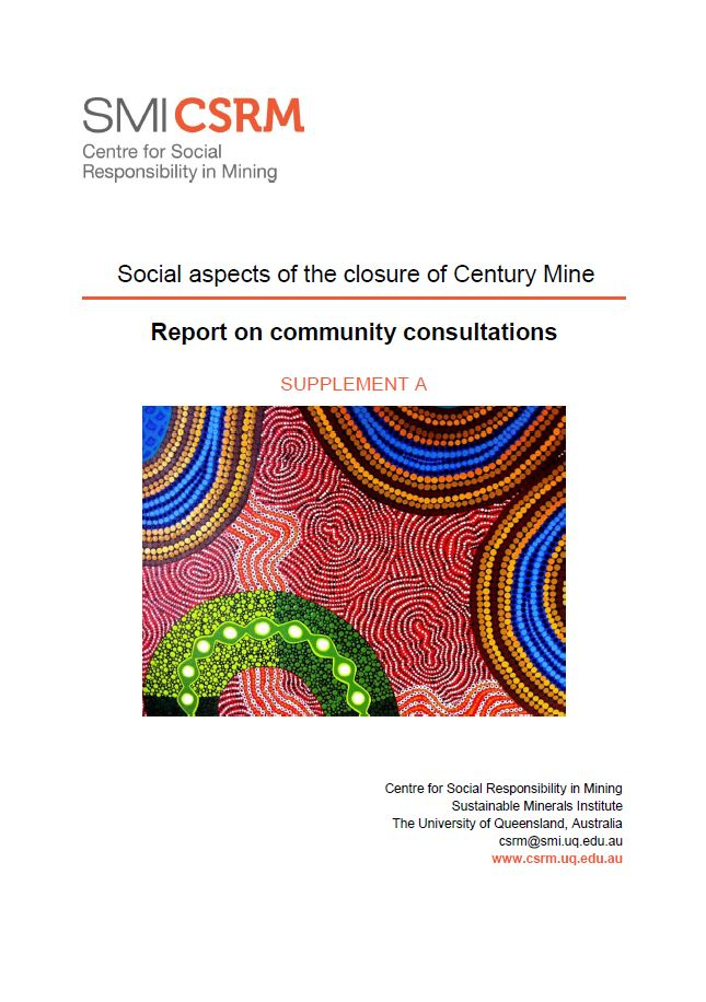 Social aspects of the closure of Century Mine: report on community consultations