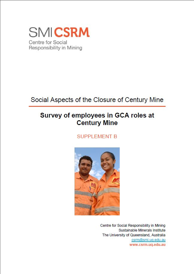 Social aspects of the closure of Century Mine: survey of employees in GCA roles at Century Mine