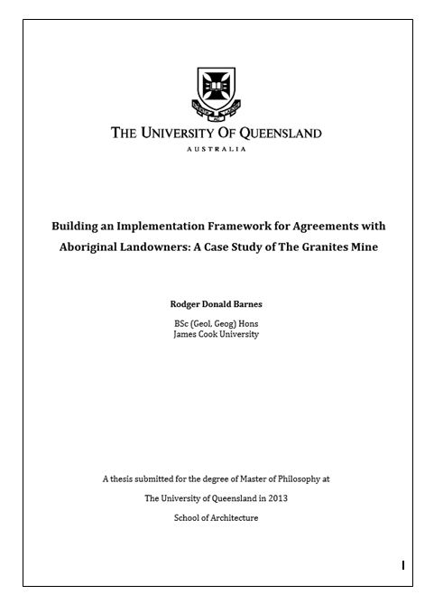 Building an implementation framework for agreements with Aboriginal landowners: a case study of the Granites Mine