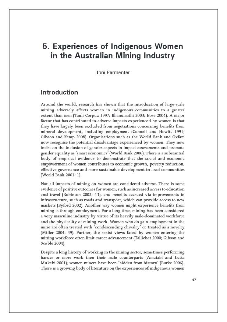 Experiences of Indigenous women in the Australian mining industry